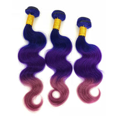 Peruvian Human Hair Weft Blue And Purple And Red Ombre Color Body Wave Bundles
