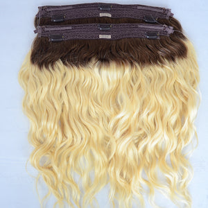 Peruvian Human Hair Clip In Halo Extension Bundles Natural Wavy