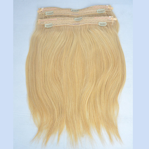 Peruvian Human Hair Clip In Halo Extension Bundles Straight
