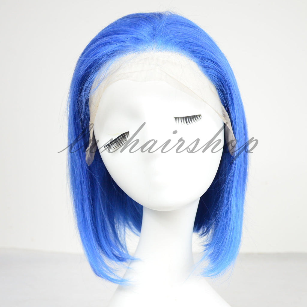 Peruvian Hair Light Blue Color Straight Lace Front Bob Wig