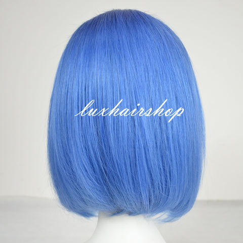 Peruvian Hair Light Blue Color Fashion Straight Lace Front Bob Wig