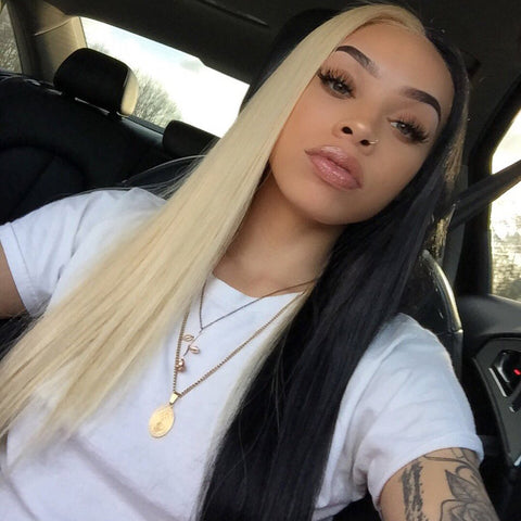 Peruvian Hair Half Blond And Half Black Color Straight Lace Front Wig