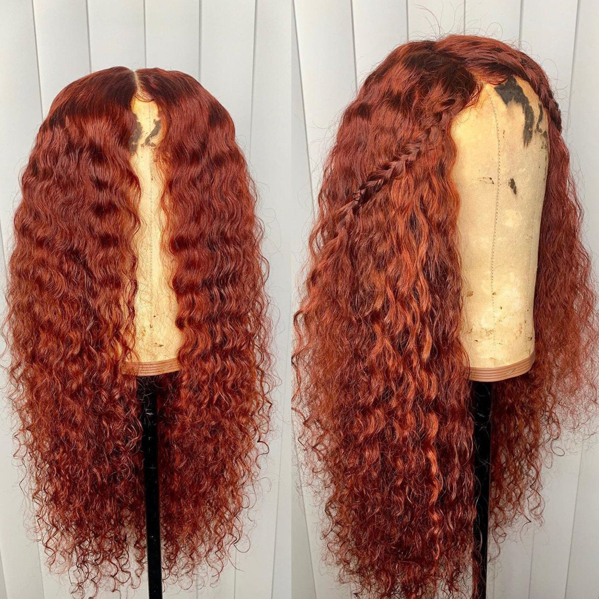 Peruvian Hair Red Curly Fashion Lace Front Glueless Wig