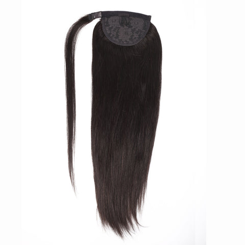Peruvian Human Hair Black Color Straight Pony Tail