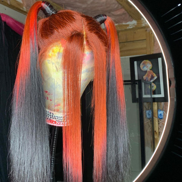 Gradient Color Ginger Black hair