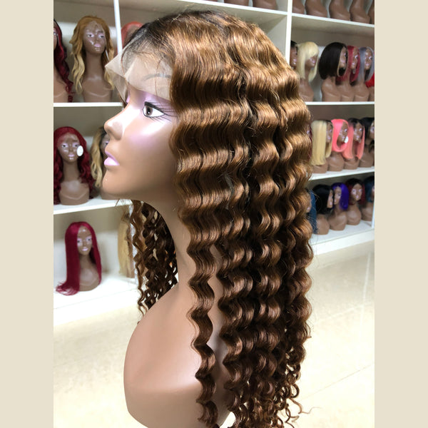 Peruvian Hair Brown Color Water Wavy Full Lace Wig