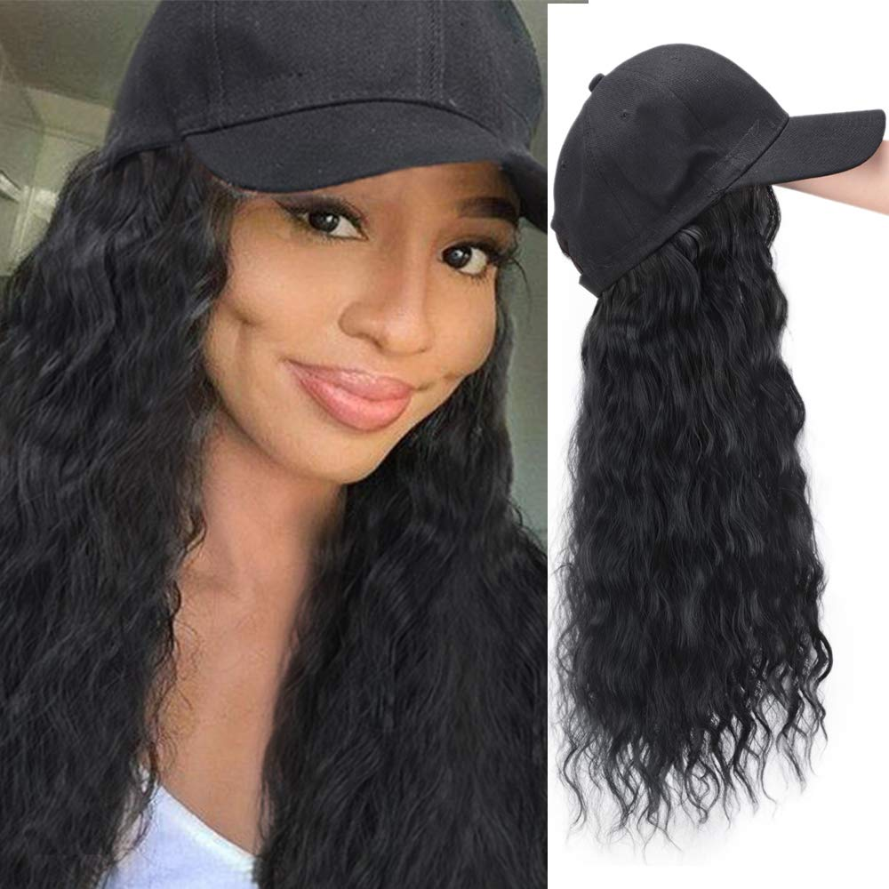 Baseball Cap Wig With Brazilian Human Hair Extensions Natural Wavy Wig Hat Black