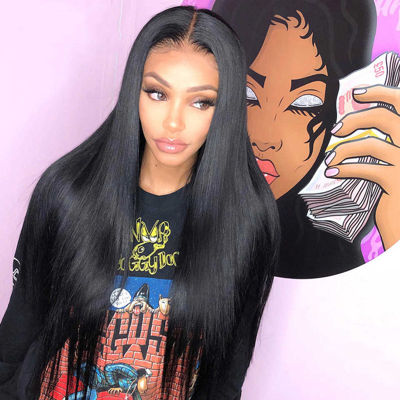 Peruvian Human Hair Black Full Lace Wig Long Straight