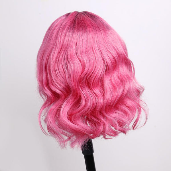 Peruvian Hair Pink with Black Root Color Body Wavy Lace Front Bob Wig