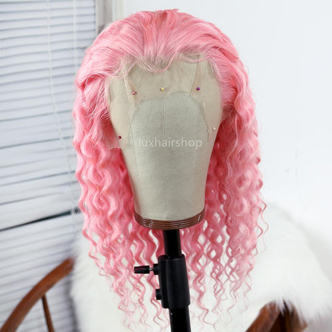 light pink deep wave wig