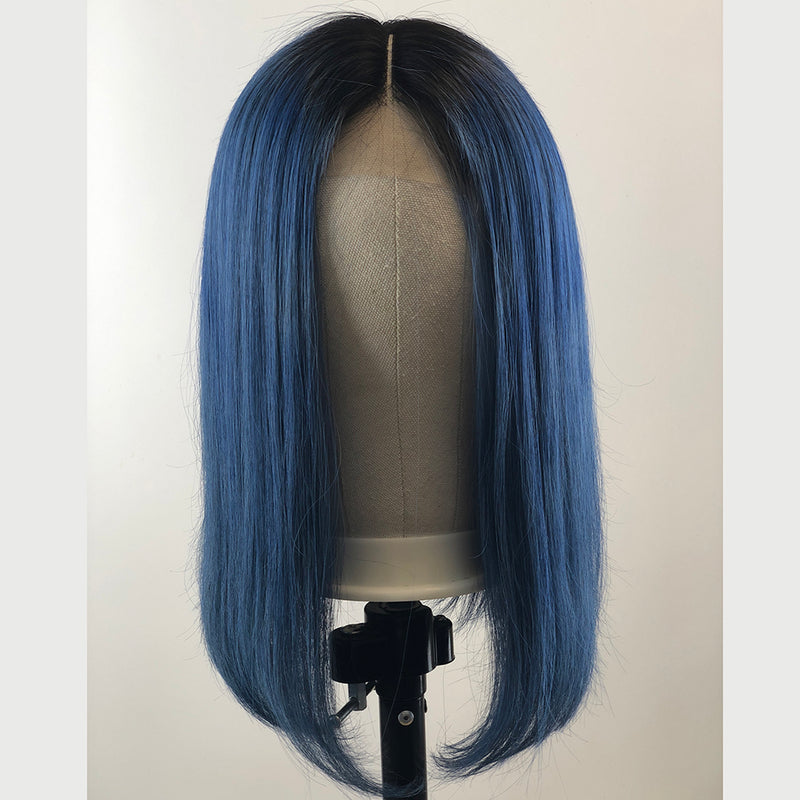 Peruvian Hair Dark Blue With Black Root Color Straight Lace Front Bob Wig