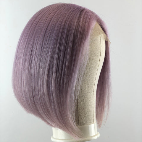 Peruvian Hair Light Purple Color Straight Full Lace Bob Wig