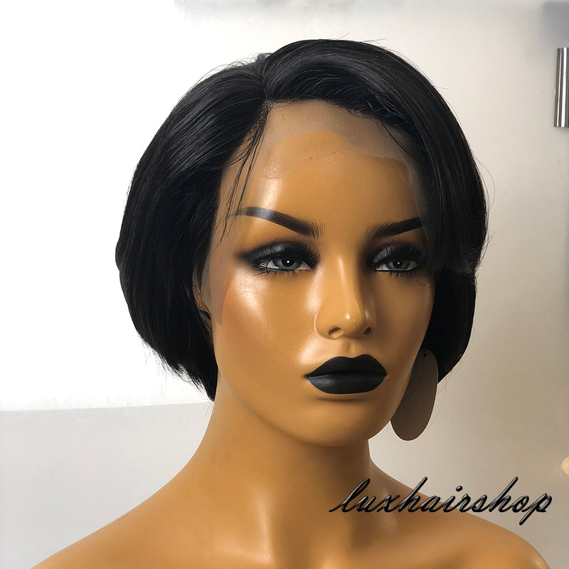 Peruvian Human Hair Lace Front Black Short Hair Fringe Bob Wig