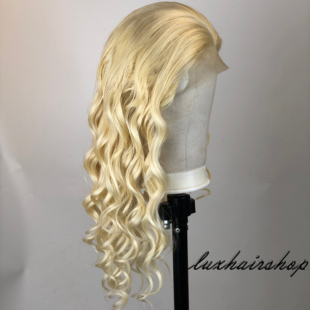 Peruvian Hair Lace Front Wig Light Blond Color Body Wavy