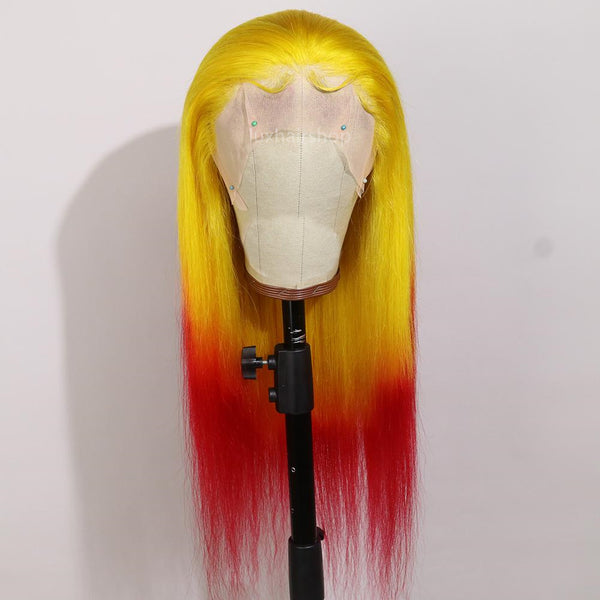 Peruvian Hair Gradient Color Yellow And Red Straight Lace Front Wig