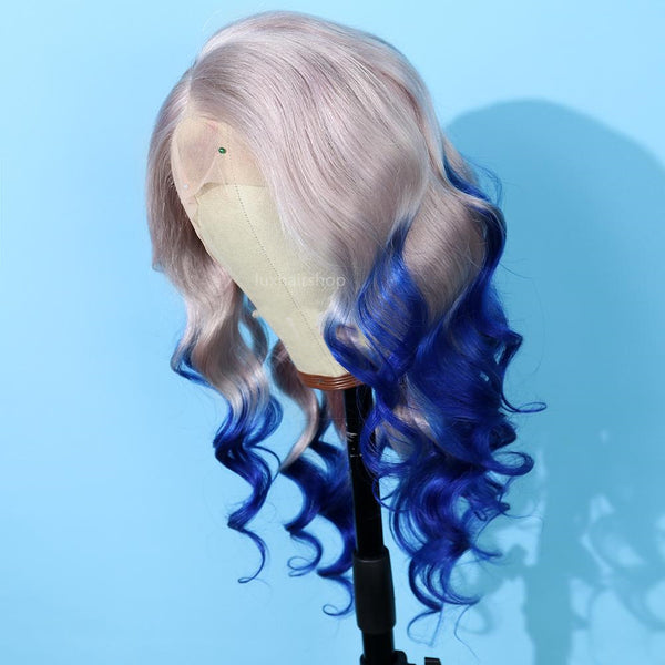Gradient Color lace blue with silver wig