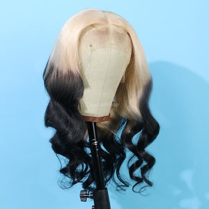 Peruvian Hair Gradient Color Light Blond With Black Body Wave Lace Front Wig