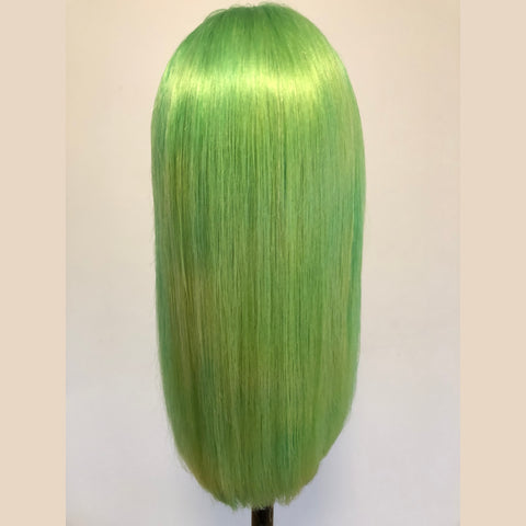 Peruvian Hair Light Green Color Straight Long Lace Front Wig