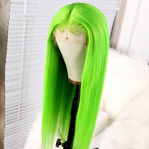 Peruvian Hair Green Color Straight Long Lace Front Wig