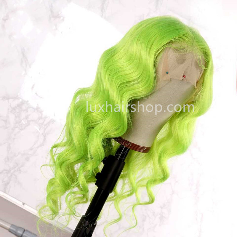 Peruvian Hair Lace Front Wig Light Green Color Body Wavy