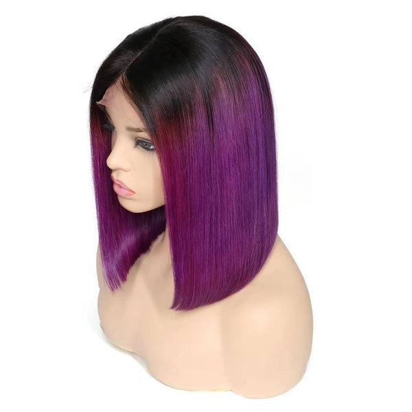 Peruvian 2019 Trends Purple With Black Root Straight Short Lace Front Bob Wig
