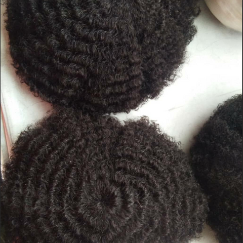 European Virgin Human Hair Black Afro Curl Man Toupee
