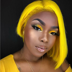 Peruvian Hair Light Yellow Color Straight Lace Front Bob Wig