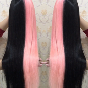 Peruvian Hair Half Pink And Half Black Color Lace Front Wig