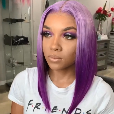 Gradient Color Purple Straight Lace Front Bob Wig