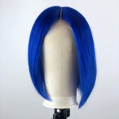 Peruvian Hair Blue Color Straight Lace Front Bob Wig
