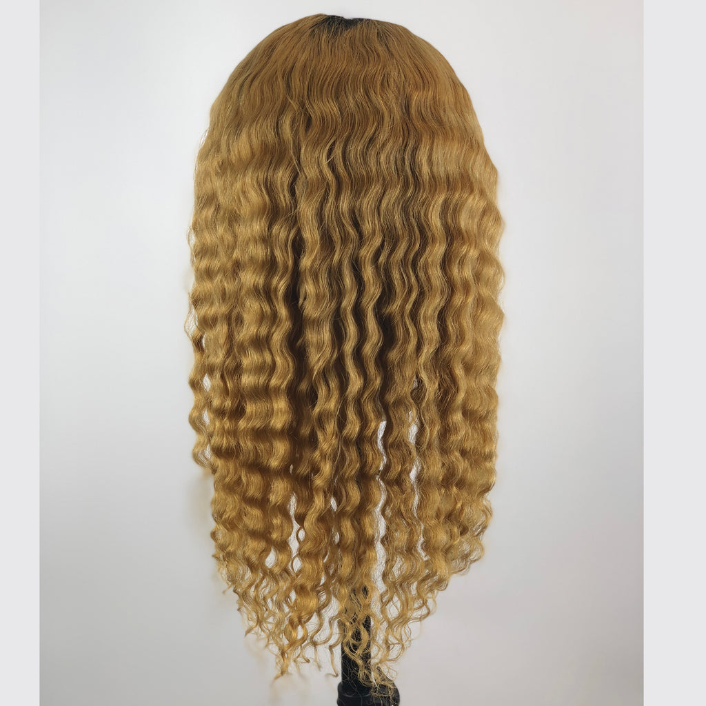 Peruvian Hair Blond With Black Root Color Water Wavy Full Lace Wig