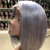 Image of Peruvian Hair Light Grey Color Straight Lace Front Bob Wig