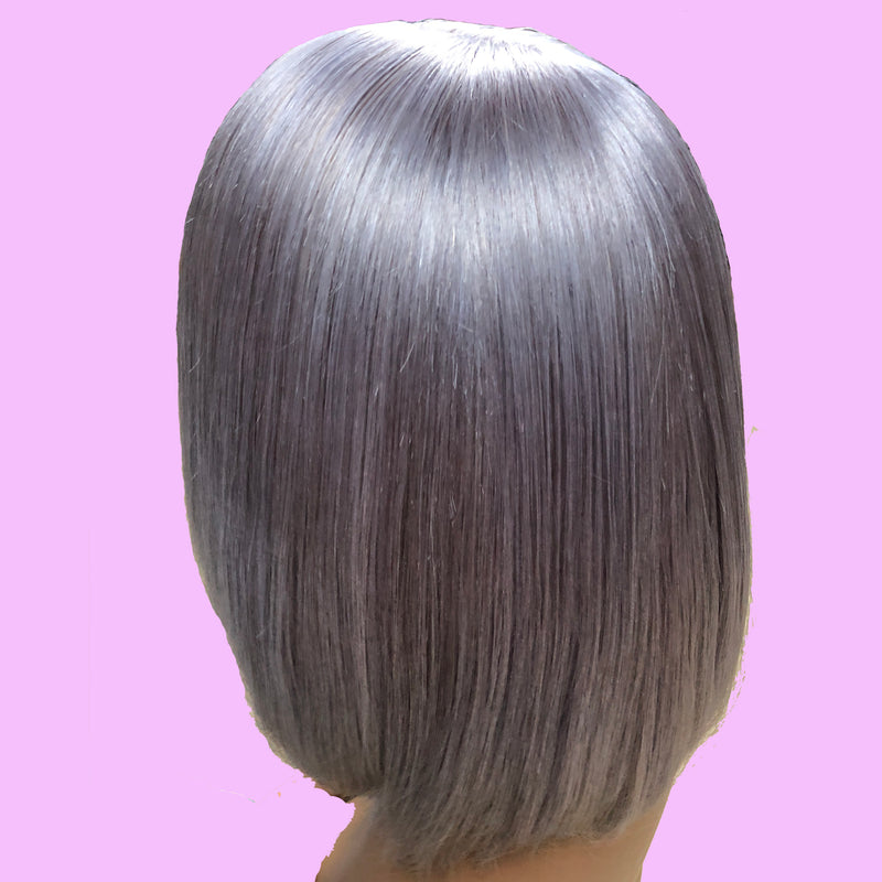 Peruvian Hair Light Grey Color Straight Lace Front Bob Wig