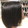Image of Peruvian Hair Black With Blond Color Straight Lace Front Bob Wig