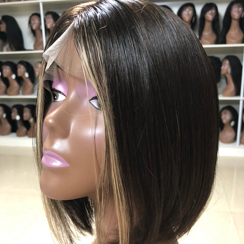 Peruvian Hair Black With Blond Color Straight Lace Front Bob Wig