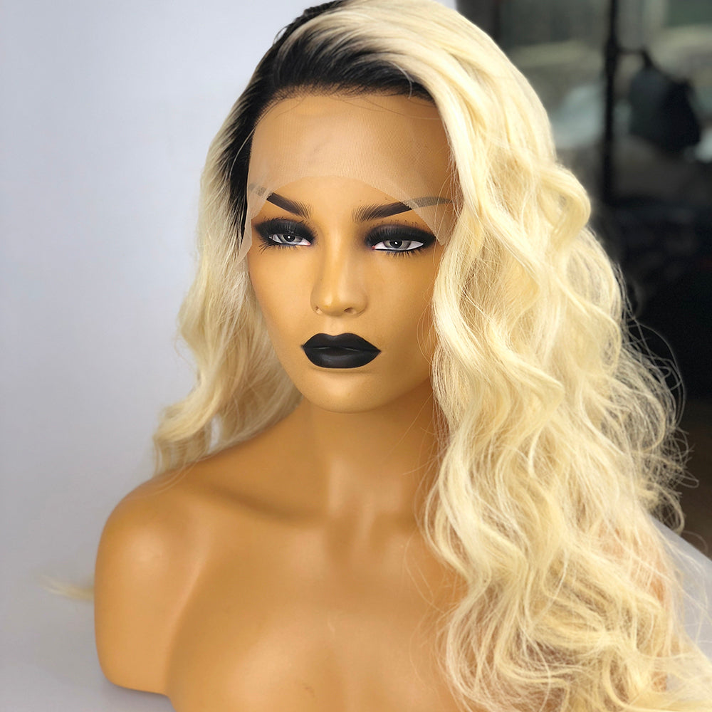 Peruvian Hair Lace Front Wig Light Blond With Black Root Color Body Wavy