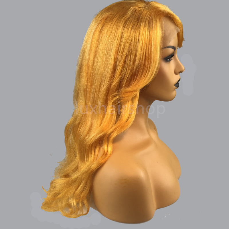 Peruvian Hair Neon Orange Color Fashion Wavy Long Hair Lace Front Wig