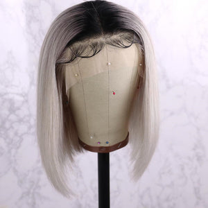 Peruvian Hair Silver With Black Root Color Lace Front Bob Wig