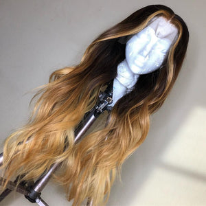 Blond With Black Color Body Wavy wig
