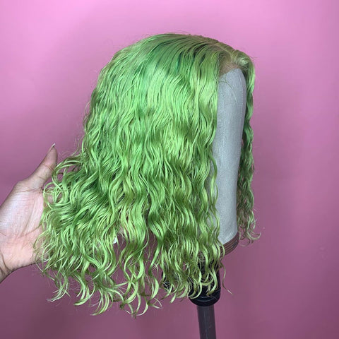 Peruvian Hair Light Green Color Lace Front Curly Bob Wig