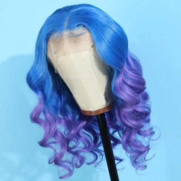 blue with purple wig