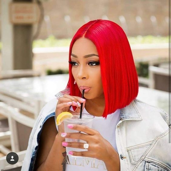 Peruvian Hair Red Color Straight Lace Front Bob Wig