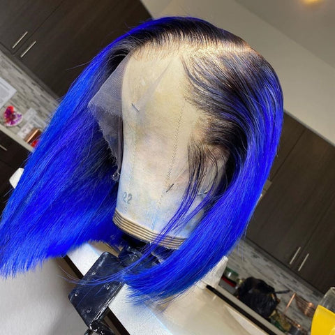 Peruvian Hair Royal Blue Color with Black Root Bob Wig