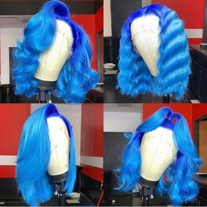 Gradient Sky Blue with Dark Root Lace Front Bob Wig