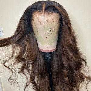 Brown with Black Root Body Wavy Lace Front Wig
