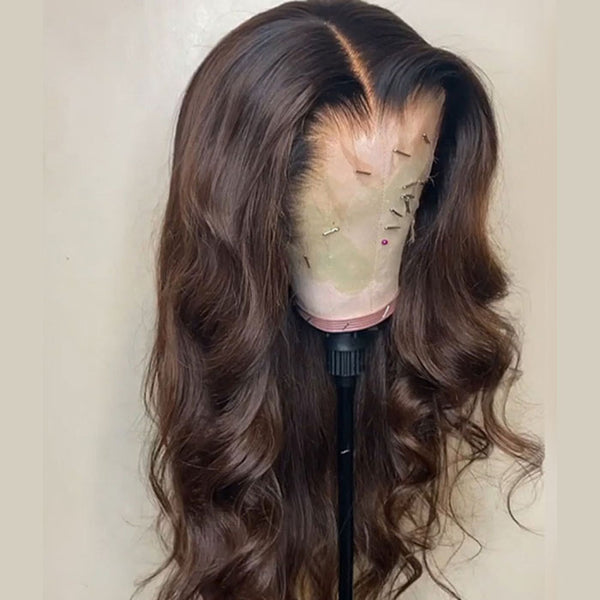Brown with Black Root Body Wavy  wig