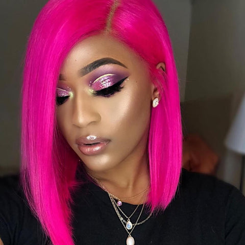 Peruvian Hair Fuchsia Color Straight Lace Front Bob Wig