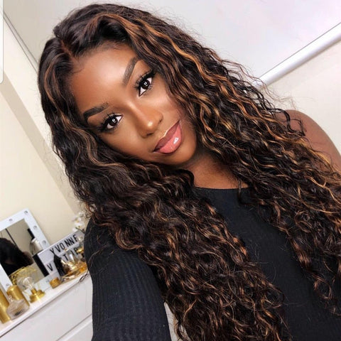 Peruvian Hair Black with Brown Ombre Color Curly Wavy Fashion Lace Front Wig