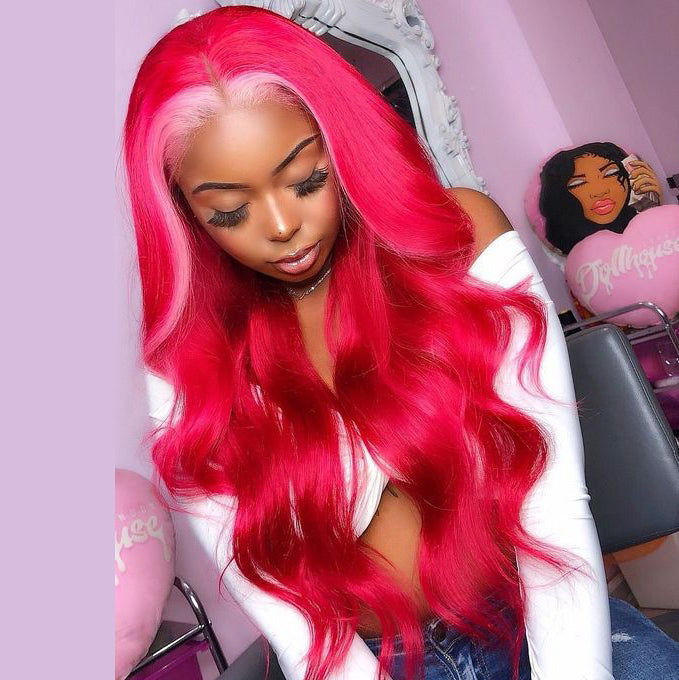 Peruvian Hair Lace Front Wig Fuchsia With Light Pink Color Fashion in Autumn