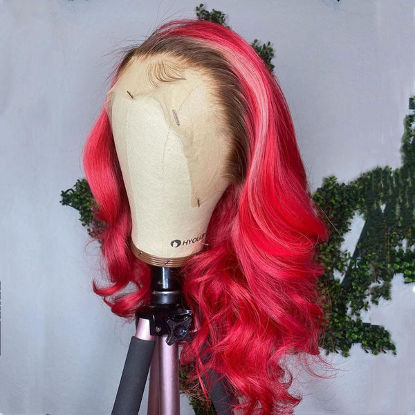 Fuchsia and Light Pink with Black Root